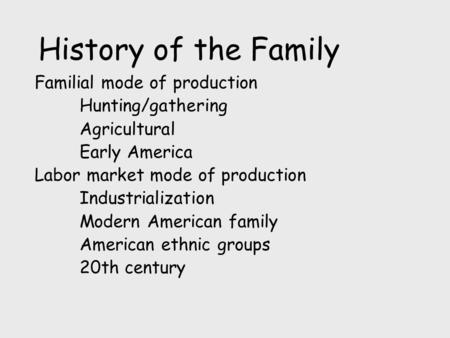 History of the Family Familial mode of production Hunting/gathering