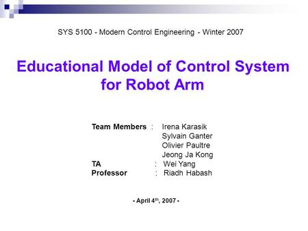 Educational Model of Control System
