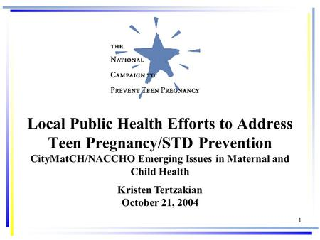 1 Local Public Health Efforts to Address Teen Pregnancy/STD Prevention CityMatCH/NACCHO Emerging Issues in Maternal and Child Health Kristen Tertzakian.