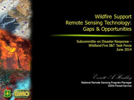 Everett A. Hinkley National Remote Sensing Program Manager USDA Forest Service Wildfire Support Remote Sensing Technology: Gaps & Opportunities Remote.