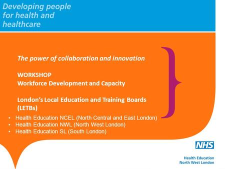 Health Education NCEL (North Central and East London) Health Education NWL (North West London) Health Education SL (South London) The power of collaboration.