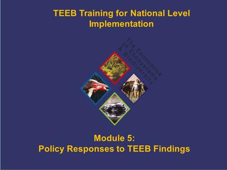 TEEB Training Module 5: Policy Responses to TEEB Findings TEEB Training for National Level Implementation.