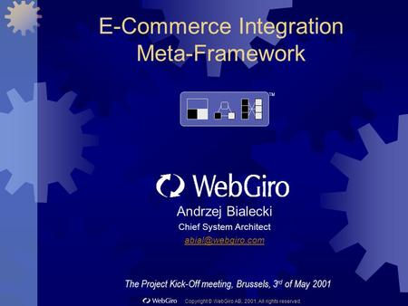 Copyright © WebGiro AB, 2001. All rights reserved. E-Commerce Integration Meta-Framework Andrzej Bialecki Chief System Architect TM The.