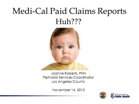 Medi-Cal Paid Claims Reports Huh??? Joanne Roberts, PHN Perinatal Services Coordinator Los Angeles County November 14, 2013.