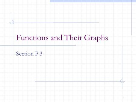 1 Functions and Their Graphs Section P.3. 2 After this lesson, you should be able to: evaluate a function recognize the graphs of linear, squaring, cubing,