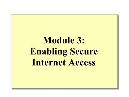 Module 3: Enabling Secure Internet Access. Overview Access Policies and Rules Overview Creating Policy Elements Configuring Access Policies and Rules.