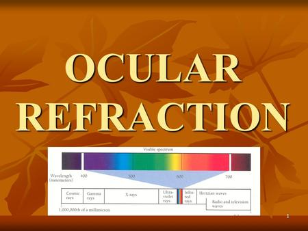 1 OCULAR REFRACTION. 2 Visual analyser performances Phisical status of refractive components (correct focus on the retina); Phisical status of refractive.