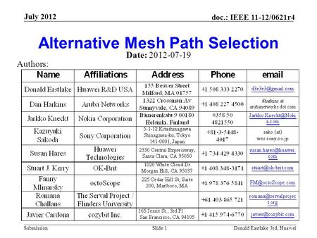 Submission doc.: IEEE 11-12/0621r4 July 2012 Donald Eastlake 3rd, HuaweiSlide 1 Alternative Mesh Path Selection Date: 2012-07-19 Authors: