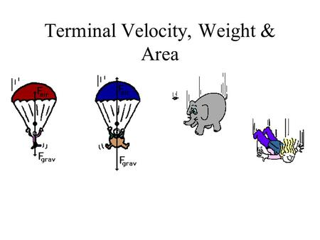 Terminal Velocity, Weight & Area. As v increases, so does air friction…