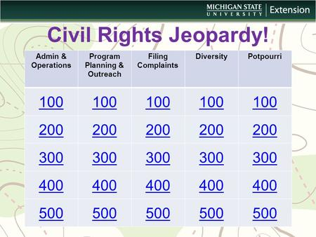 Civil Rights Jeopardy! Admin & Operations Program Planning & Outreach Filing Complaints DiversityPotpourri 100 200 300 400 500.