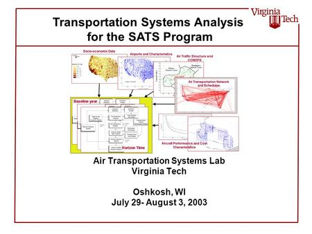 Air Transportation Systems Lab Virginia Tech Oshkosh, WI July 29- August 3, 2003 Transportation Systems Analysis for the SATS Program.