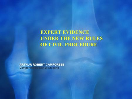 EXPERT EVIDENCE UNDER THE NEW RULES OF CIVIL PROCEDURE ARTHUR ROBERT CAMPORESE Camporese Sullivan Di Gregorio.