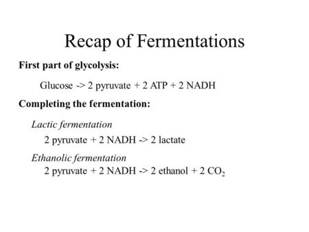 Recap of Fermentations Glucose -> 2 pyruvate + 2 ATP + 2 NADH 2 pyruvate + 2 NADH -> 2 lactate 2 pyruvate + 2 NADH -> 2 ethanol + 2 CO 2 First part of.