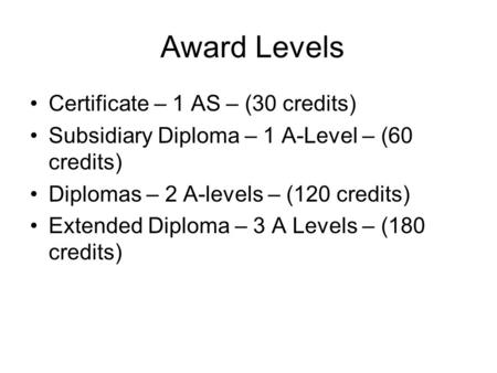 Award Levels Certificate – 1 AS – (30 credits)