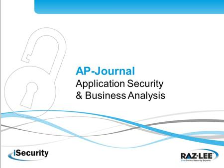 AP-Journal Application Security & Business Analysis.