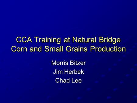 CCA Training at Natural Bridge Corn and Small Grains Production Morris Bitzer Jim Herbek Chad Lee.