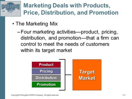 Copyright © Houghton Mifflin Company. All rights reserved. 1–11–1 Marketing Deals with Products, Price, Distribution, and Promotion The Marketing Mix –Four.