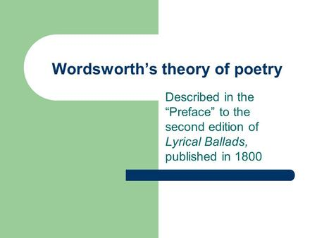 Wordsworth's theory of poetry