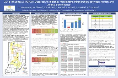 2012 Influenza A (H3N2)v Outbreak in Indiana: Highlighting Partnerships between Human and Animal Surveillance The Indiana State Department of Health (ISDH)