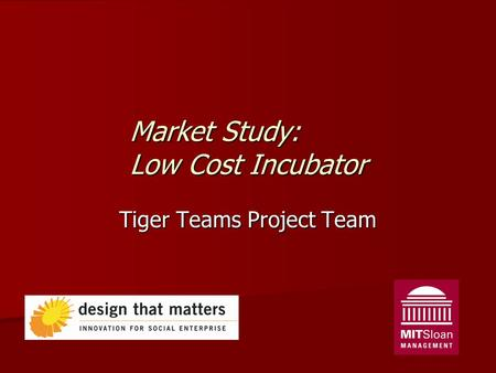 Market Study: Low Cost Incubator Tiger Teams Project Team.