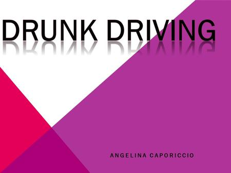 ANGELINA CAPORICCIO. MAIN POINTS  STATISTICS  WHY DRINKING AND DRIVING IS DANGEROUS  WHAT IS EFFECTS  CONSEQUENCE'S OF DRINKING AND DRIVING  SIGNS.