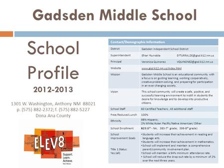 Gadsden Middle School Contact/Demographic Information District Gadsden Independent School District Superintendent Efran Yturralde