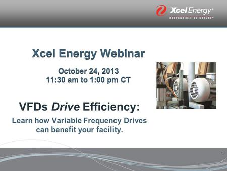 1 Xcel Energy Webinar October 24, 2013 11:30 am to 1:00 pm CT VFDs Drive Efficiency: Learn how Variable Frequency Drives can benefit your facility.