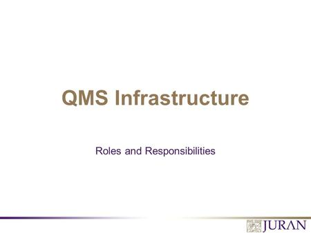 Roles and Responsibilities QMS Infrastructure. All Rights Reserved, Juran Institute, Inc. 6170 Performance System.v1 1.PPT Learning Objectives 1.Become.
