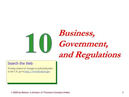 © 2005 by Nelson, a division of Thomson Canada Limited. 1 Business, Government, and Regulations Search the Web To keep abreast of changes in industrial.