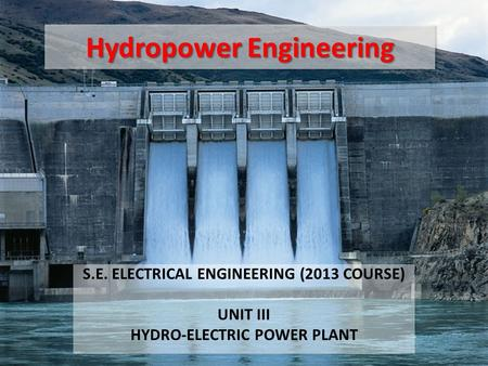 Hydropower Engineering