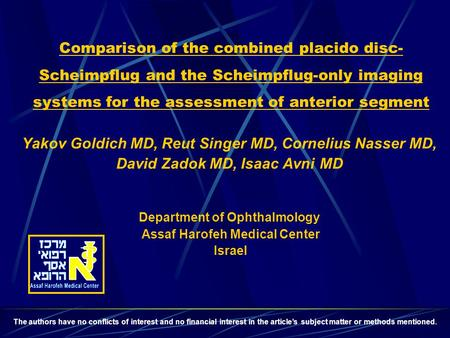 David Zadok MD, Isaac Avni MD
