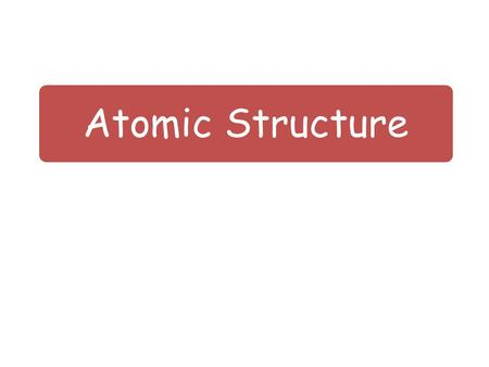 Atomic Structure. Lesson Objectives To know what is meant by an atom. To know that an atom is made up of three smaller particles. To be able to draw the.