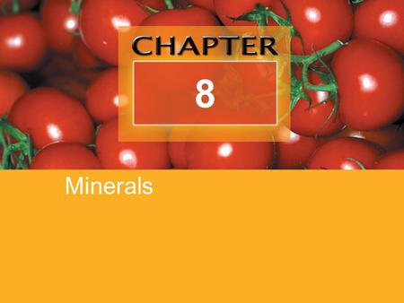8 Minerals. Copyright © 2007 Thomson Delmar Learning, a division of Thomson Learning Inc. All rights reserved. 8-2 Objectives List at least two food sources.