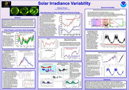 Solar Irradiance Variability Rodney Viereck NOAA Space Environment Center Derived Total Solar Irradiance Hoyt and Schatten, 1993 (-5 W/m 2 ) Lean et al.,