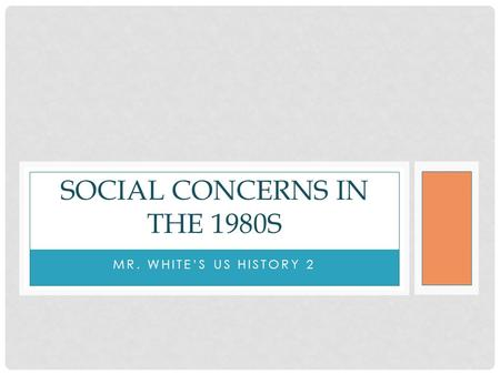 MR. WHITE'S US HISTORY 2 SOCIAL CONCERNS IN THE 1980S.