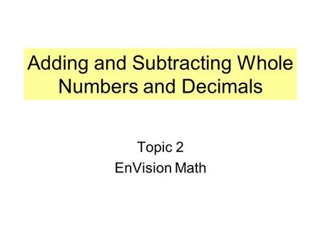 Adding and Subtracting Whole Numbers and Decimals