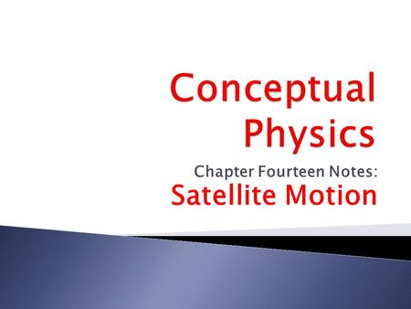 Chapter Fourteen Notes: <strong>Satellite</strong> Motion.  Circular Motion Principles for <strong>Satellites</strong>  A <strong>satellite</strong> is any object which is <strong>orbiting</strong> the earth, sun or.