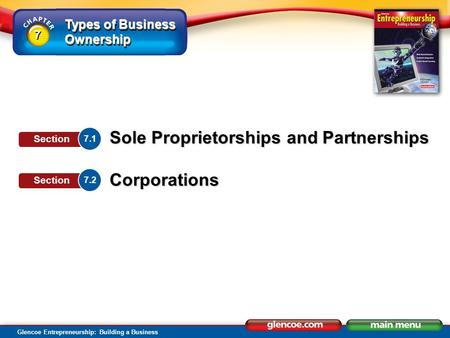 Types of Business Ownership Glencoe Entrepreneurship: Building a Business Sole Proprietorships and Partnerships Corporations 7.1 Section 7.2 Section 7.