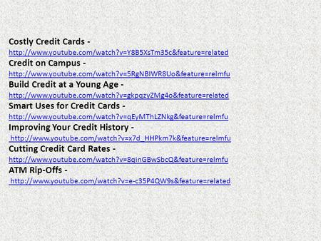 Costly Credit Cards -  Credit on Campus -