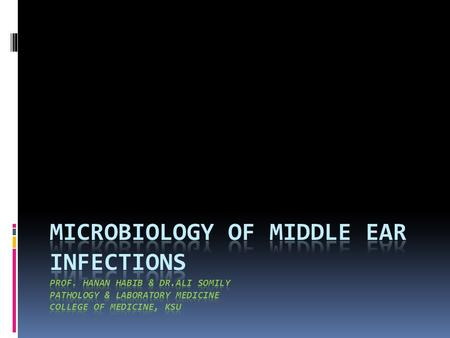 Objectives Upon completion of the lecture, students should be able to:  Define middle ear infection  Know the classification of otitis media (OM). 
