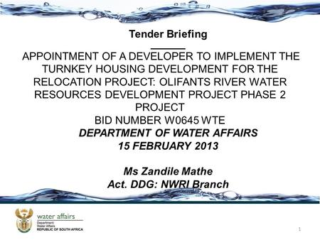 DEPARTMENT OF WATER AFFAIRS