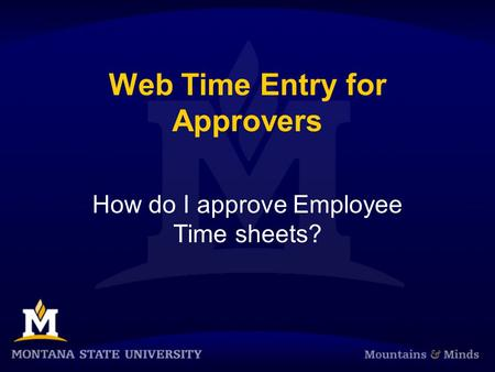 Web Time Entry for Approvers How do I approve Employee Time sheets?