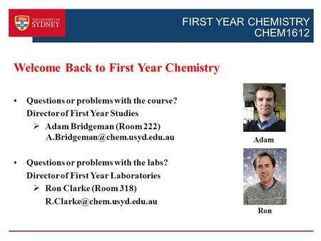 FIRST YEAR CHEMISTRY CHEM1612 Welcome Back to First Year Chemistry Questions or problems with the course? Director of First Year Studies  Adam Bridgeman.