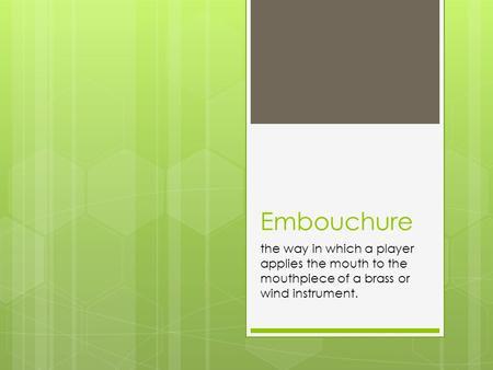 Embouchure the way in which a player applies the mouth to the mouthpiece of a brass or wind instrument.