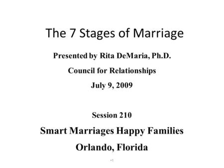 The 7 Stages of Marriage Presented by Rita DeMaria, Ph.D. Council for Relationships July 9, 2009 Session 210 Smart Marriages Happy Families Orlando, Florida.
