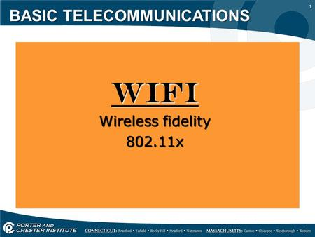 1 BASIC TELECOMMUNICATIONS Wireless fidelity 802.11x.