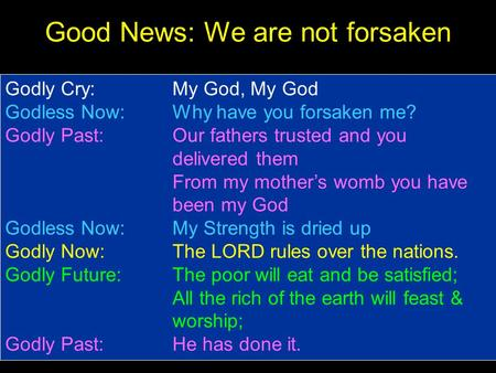Good News: We are not forsaken Godly Cry: My God, My God Godless Now: Why have you forsaken me? Godly Past: Our fathers trusted and you delivered them.