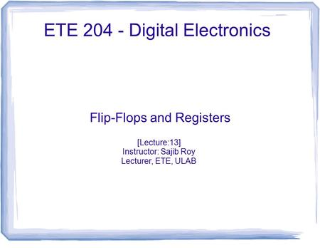 ETE Digital Electronics