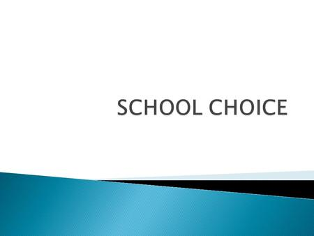  School choice gives parents the freedom to choose their child's educational journey.  School choice offers parents a healthy alternative to the traditional.