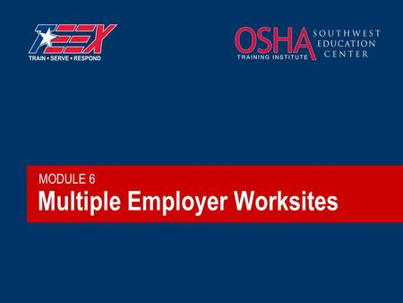Multiple Employer Worksites MODULE 6. 2©2006 TEEX Brainstorm  How many contractors typically work on one well site?  Who is liable if someone is hurt?